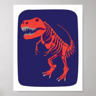 Impresión de T-Rex de la bola de fuego Póster