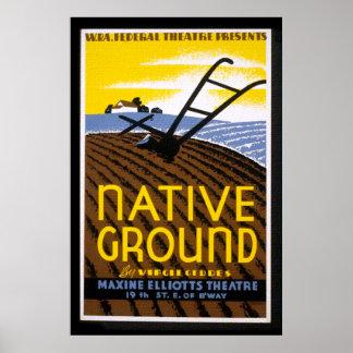 Impresión de tierra nativa del poster de WPA del v