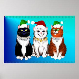 Impresión de tres gatitos del navidad póster