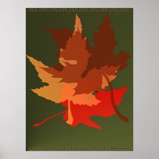 Impresión de tres hojas de otoño posters