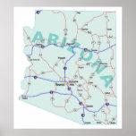 Impresión de un estado a otro del mapa de Arizona Posters