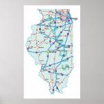Impresión de un estado a otro del mapa de Illinois Impresiones