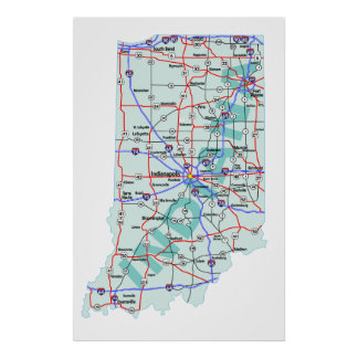 Impresión de un estado a otro del mapa de Indiana Póster