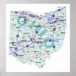 Impresión de un estado a otro del mapa de Ohio Póster