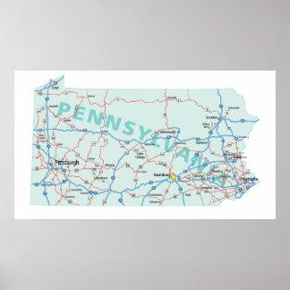 Impresión de un estado a otro del mapa de Pennsylv Póster