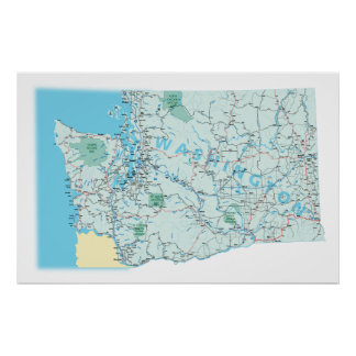 Impresión de un estado a otro del mapa de Washingt