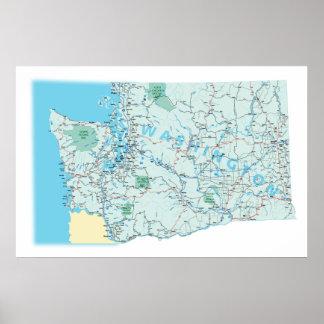 Impresión de un estado a otro del mapa de Washingt Posters