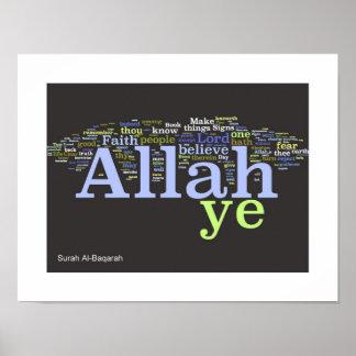 Impresión de Wordle del al-Baqarah de la surá Impresiones