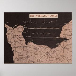 Impresión de WWII - el mapa de la costa de Póster