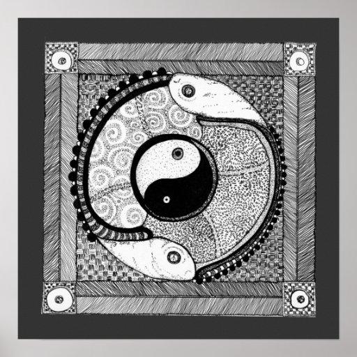 Impresión de Yin Yang de la armonía Póster