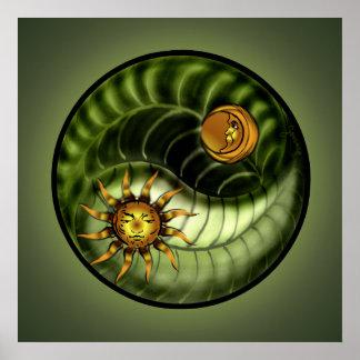 Impresión de Yin Yang del Día de la Tierra Póster