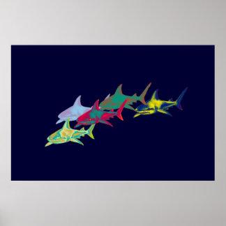 impresión decorativa de los tiburones posters