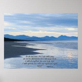 Impresión del 41:10 de Isaías de la playa del océa Póster