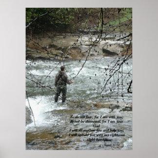 Impresión del 41:10 de Isaías del río del pescador Póster