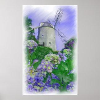 Impresión del aceite del molino de viento de Olde  Póster