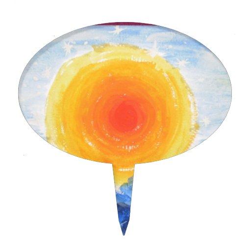 Impresión del aceite del Sun Decoraciones De Tartas