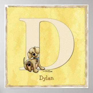 Impresión del alfabeto del poster del perro