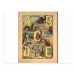 Impresión del alfabeto del vintage - ABCDE Postal