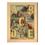 Impresión del alfabeto del vintage - ABCDE Tarjetas Postales