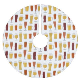 Impresión del amante de la cerveza falda para arbol de navidad de poliéster