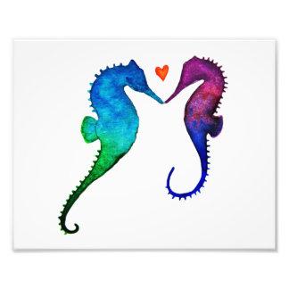 Impresión del amor del Seahorse Cojinete