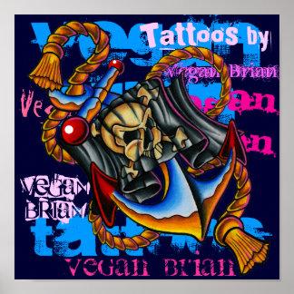 Impresión del ancla del pirata del vegano Brian Póster