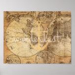 Impresión del ancla del Wanderlust del mapa del vi Posters