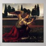 Impresión del ángel del anuncio de Leonardo da Póster