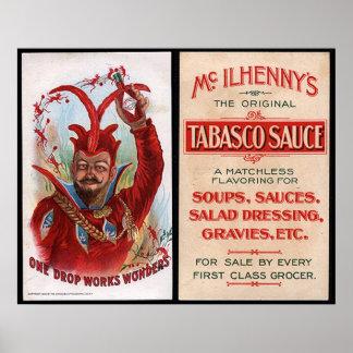 Impresión del anuncio de la salsa caliente del vin poster