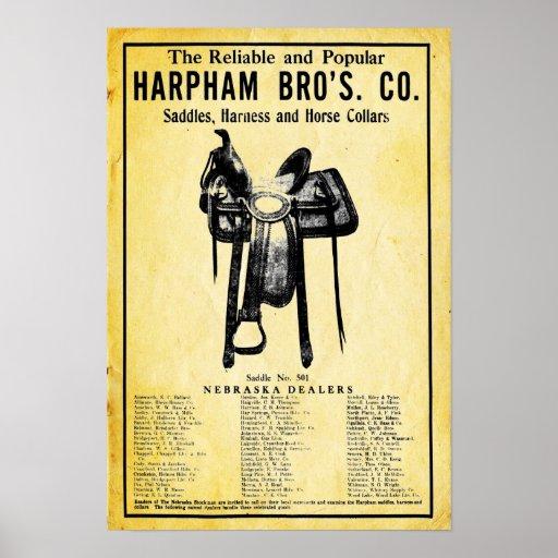 Impresión del anuncio de la silla de montar del póster