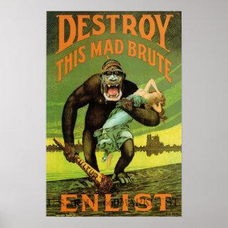 Impresión del anuncio del alistamiento de WWI Impresiones