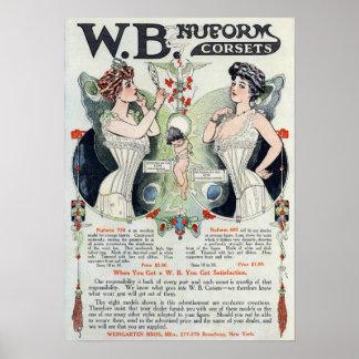 Impresión del anuncio del corsé del vintage póster