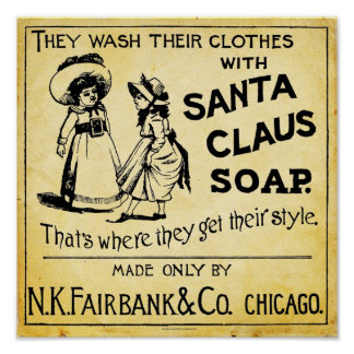 Impresión del anuncio del jabón de Papá Noel del Póster