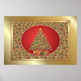 Impresión del árbol de navidad poster