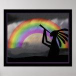 Impresión del arco iris de Kokopelli Poster