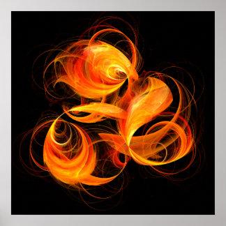 Impresión del arte abstracto de la bola de fuego póster