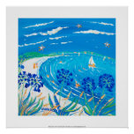 Impresión del arte: Agapanthus, playa de la bahía  Poster