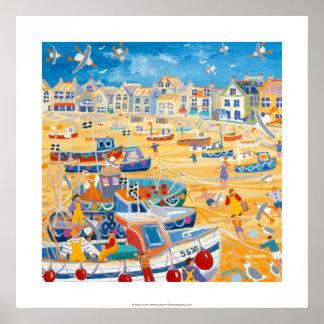 Impresión del arte: Barcos y cuerdas, St Ives, Póster