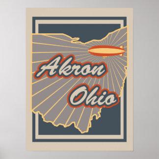 Impresión del arte de Akron, Ohio - poster del