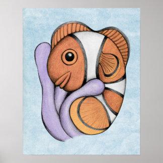 Impresión del arte de Clownfish del bebé de la Póster
