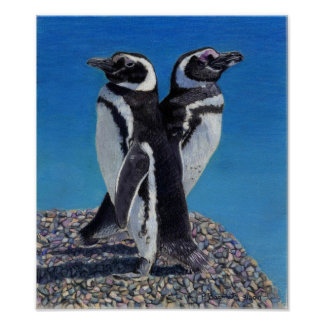 Impresión del arte de dos pingüinos póster