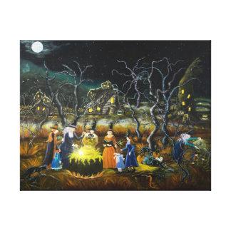 Impresión del arte de Halloween, brujas alrededor Impresiones De Lienzo