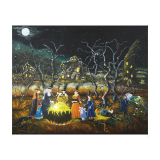 Impresión del arte de Halloween, brujas alrededor Lona Estirada Galerias