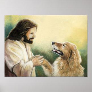 Impresión del arte de Jesús y del perro del golden