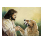 Impresión del arte de Jesús y del perro del golden Impresiones