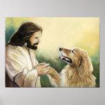 Impresión del arte de Jesús y del perro del golden Póster