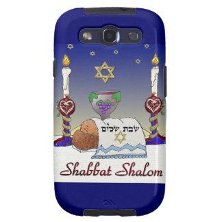 Impresión del arte de Judaica Shabbat Shalom Galaxy SIII Fundas