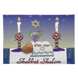 Impresión del arte de Judaica Shabbat Shalom Manteles
