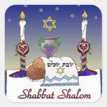 Impresión del arte de Judaica Shabbat Shalom Pegatinas Cuadradases