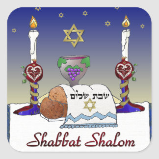 Impresión del arte de Judaica Shabbat Shalom Pegatina Cuadrada